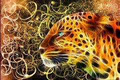 Abstracte Kleurrijke Luipaard op een Kleurrijke Abstracte Lijnenachtergrond vector illustratie