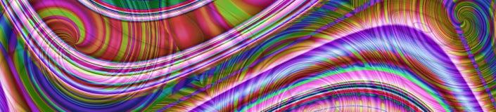 Abstracte kleurrijke panoramabanner met gloeiende lijnen stock afbeelding