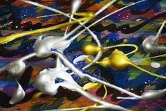 Abstracte kleurrijke plonsen De abstracte achtergrond van de waterverfverf Stock Foto's