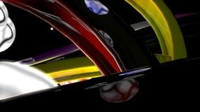 Abstracte Kleurrijke Sporen met ballen stock footage