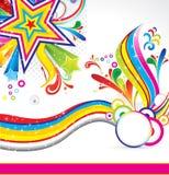 Abstracte kleurrijke ster backgorund met golf Royalty-vrije Stock Fotografie
