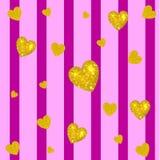 Abstracte kleurrijke vectorachtergrond Gouden harten op gestreepte magenta en roze achtergrond Verticale strepen Stock Fotografie
