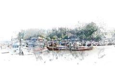 Abstracte kleurrijke vissersboot en Haven bij waterverfillustratie het schilderen royalty-vrije stock afbeeldingen