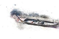 Abstracte kleurrijke vissersboot in zandoverzees bij waterverfillustratie het schilderen royalty-vrije stock foto's