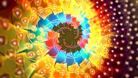 Abstracte kleurrijke vormen die als een carrousel of in een caleidoscoop spinnen Hoog Gedetailleerd stock videobeelden