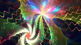 Abstracte kleurrijke vormen die als een carrousel of in een snelle lijnenfilm spinnen Hoog Gedetailleerd stock videobeelden
