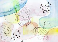 Abstracte kleurrijke watercolourverf op document achtergrond stock afbeelding