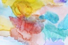 Abstracte kleurrijke waterverfachtergrond Stock Fotografie