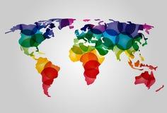 Abstracte kleurrijke wereldkaart Stock Fotografie