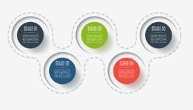 Abstracte knoopelementen, diagram met 5 stappen, opties of delen Creatief concept voor infographic Bedrijfsgegevens vector illustratie