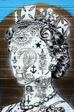 Abstracte koninginnen hoofdgraffiti Royalty-vrije Stock Fotografie
