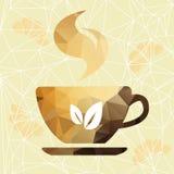 Abstracte kop van koffie op een geometrische achtergrond. stock illustratie