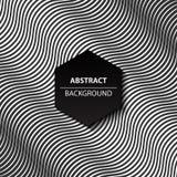 Abstracte kromme zwart-witte achtergrond, modern 3d patroon, vector Royalty-vrije Stock Foto