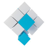 Abstracte kubus die van blokken assembleren Stock Afbeeldingen