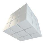 Abstracte kubus die van blokken assembleren Royalty-vrije Stock Afbeeldingen