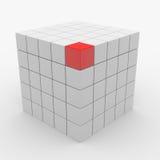 Abstracte kubus die van witte blokken assembleert Royalty-vrije Stock Foto