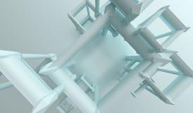 Abstracte Kubussenachtergrond met Lege Ruimte en Blauwe Tint royalty-vrije illustratie