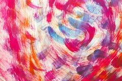 Abstracte kunst roze oranje en blauwe kleur als achtergrond Met de hand geschilderd Stock Foto's
