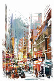 Abstracte kunst van cityscape royalty-vrije illustratie