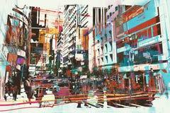 Abstracte kunst van cityscape vector illustratie