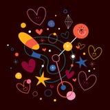 Abstracte kunstillustratie met leuke harten Stock Afbeelding