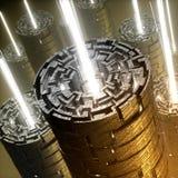 Abstracte labyrintbuizen met lichte slagen stock afbeeldingen