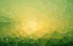 Abstracte lage poly groene heldere technologie vectorachtergrond con stock illustratie