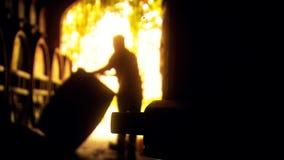 Abstracte lengte als achtergrond van winemaker rollend vat