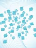 Abstracte lichtblauwe vliegende kubussenachtergrond Stock Foto