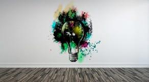 Abstracte Lightbulb-Kunst op Muur met Houten Vloer Royalty-vrije Stock Afbeelding