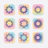Abstracte lijn om symbolische emblemen die op vierkante pictogrammen worden geplaatst Royalty-vrije Stock Foto