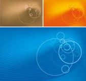 Abstracte lijnen en cirkels op gradiëntachtergrond Stock Foto