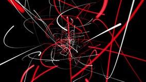 Abstracte lijnen in rood en wit op zwarte stock illustratie