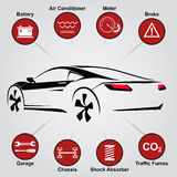 Abstracte Lijnen van de auto de Autodienst Ontwerpelementen met mechanische gedeeltenpictogrammen Vector illustratie vector illustratie