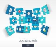 Abstracte logistische achtergrond met verbonden kleurenraadsels, geïntegreerd vlak pictogram 3d concept met Levering, de dienst,  Stock Afbeeldingen