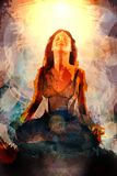 Abstracte Lotus Meditation Painting royalty-vrije stock afbeelding