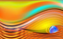 Abstracte luxe mooie gestreepte achtergrond met parel blauwe orb Oranje vectorillustratie met glanzende juwelen stock illustratie