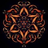 Abstracte Magische mandala Geheimzinnig ontspanningspatroon Abstracte die fractal achtergrond met een mandala van lichtgevende li stock illustratie