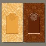Abstracte malplaatjereeks kaarten De uitnodiging van het kaderpatroon met plaats voor tekst Kantornament, mandala Arabisch, het e Royalty-vrije Stock Afbeeldingen