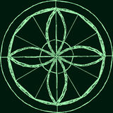 Abstracte mandala in een hand-drawn stijl Groene geometrische mandala Royalty-vrije Stock Fotografie
