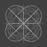 Abstracte mandala in een hand-drawn stijl Witte geometrische mandala Stock Afbeelding