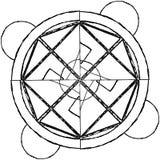 Abstracte mandala in een hand-drawn stijl Zwarte geometrische mandala Stock Afbeelding