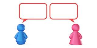 Abstracte mannelijke en vrouwelijke cijfers met geïsoleerde toespraakbellen Stock Afbeelding