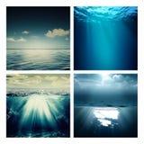 Abstracte marine geassorteerde geplaatste achtergronden Royalty-vrije Stock Foto's