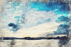Abstracte meer en berg Digitaal Art Impasto Oil Painting langs stock foto