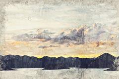 Abstracte meer en berg Digitaal Art Impasto Oil Painting langs stock afbeelding