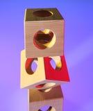 Abstracte meetkunde met houten kubussen Royalty-vrije Stock Foto's