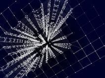 Abstracte meetkunde Structuurlijn en punten op blauwe achtergrond Stock Afbeelding