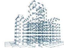 Abstracte meetkunde Structuurlijn en punten op blauwe achtergrond Royalty-vrije Stock Foto