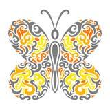 Abstracte Mehndi-vlinder - illustratie Stock Fotografie